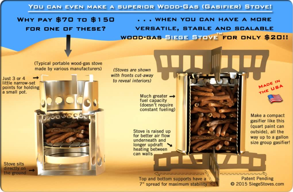 Make the ultimate gasifier wood-gas stove - easy and fast with our DIY instructions using free cans and the Siege Stove universal Cross-Members