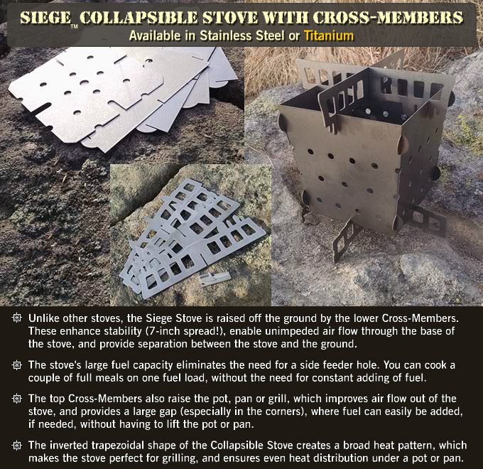 Siege Collapsible Stove Flat-pack in titanium or stainless steel.