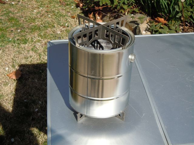 Paint Can Wood Gasifier : assembled wood gas stove with gallon paint can outside and 10 can ...